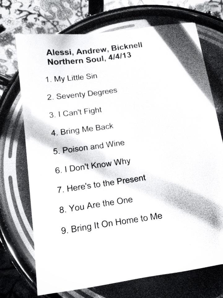 Northern Soul Setlist 4-4-13