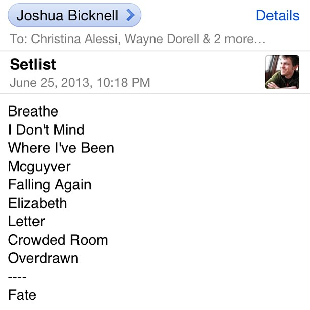 Maxwells Setlist 6-26-13