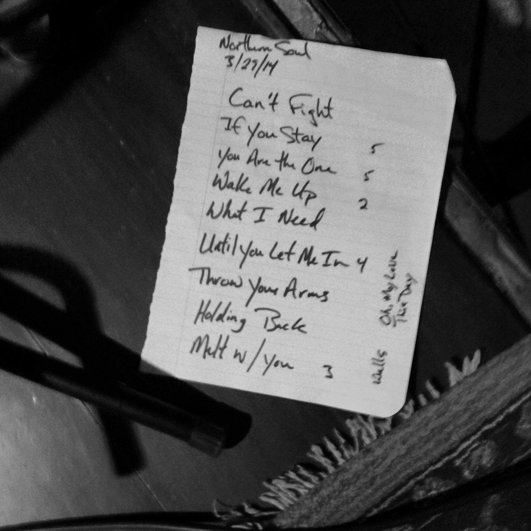 Northern Soul Setlist 032914
