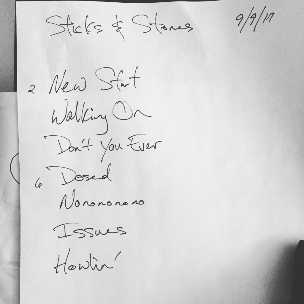 Setlist-SticksandStones